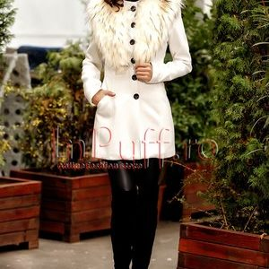 palton alb din stofa