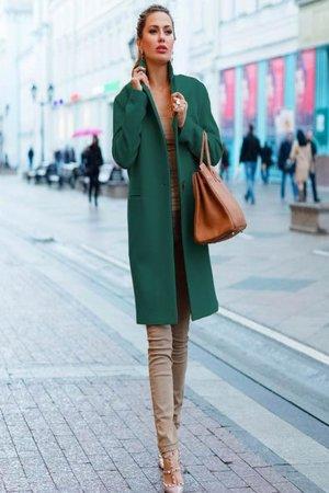 palton verde din stofa