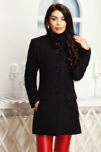 palton negru din stofa