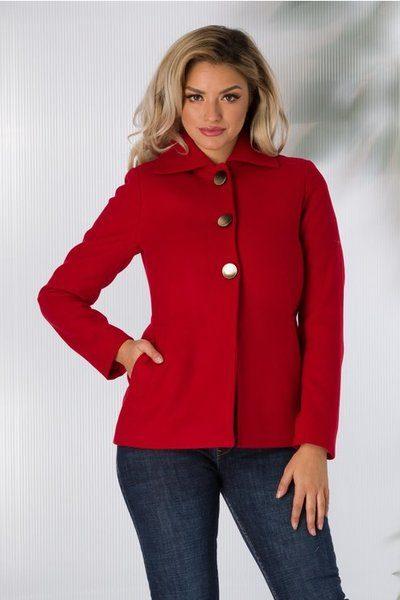 palton dama rosu scurt