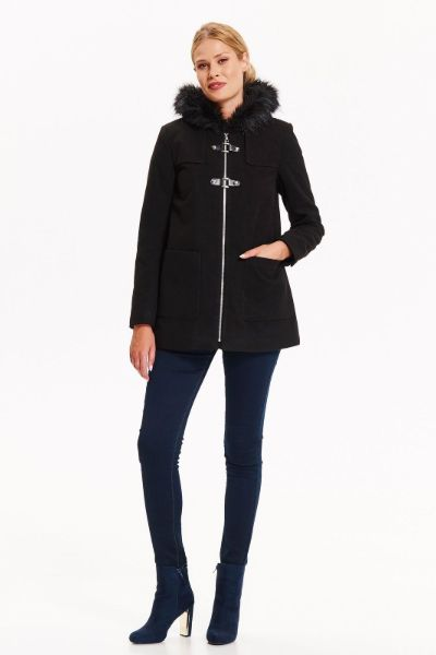 palton negru scurt
