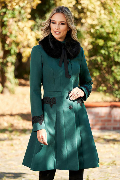 palton verde elegant