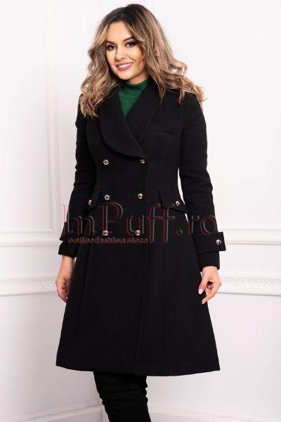 palton dama negru elegant