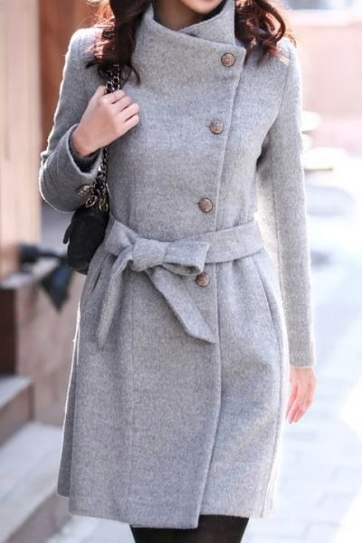 palton gri elegant