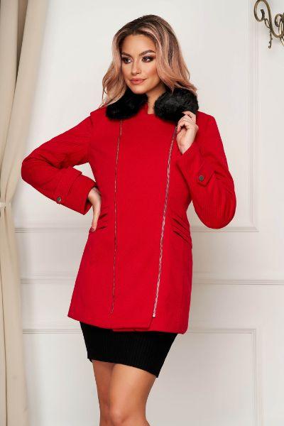 palton elegant rosu