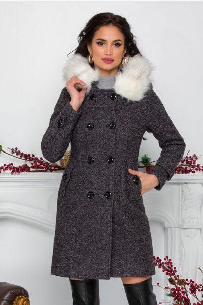 palton cu blana dama