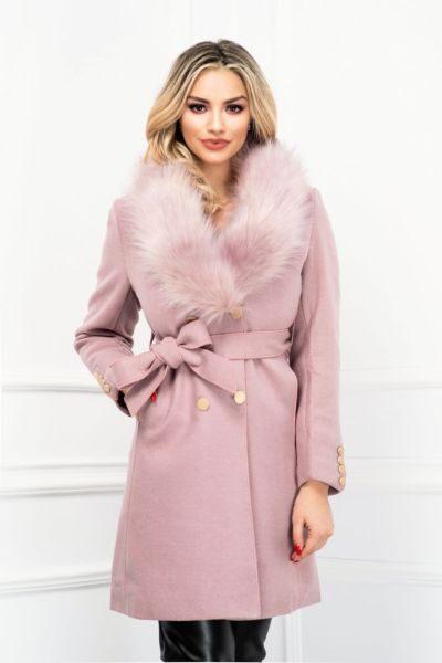 palton elegant roz