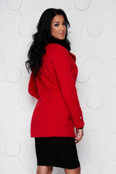 palton rosu de iarna dama