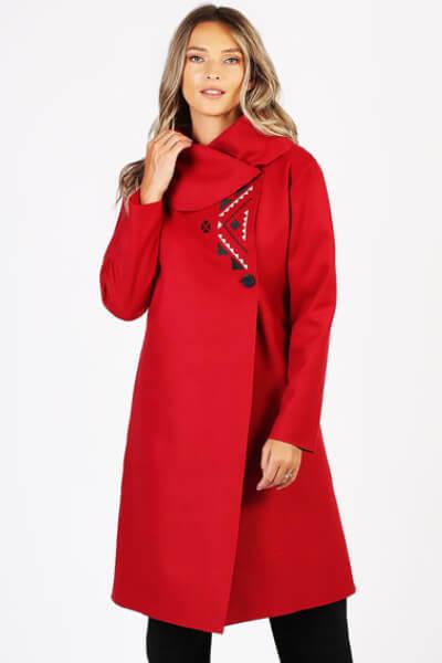 Palton din lana cu model petrecut