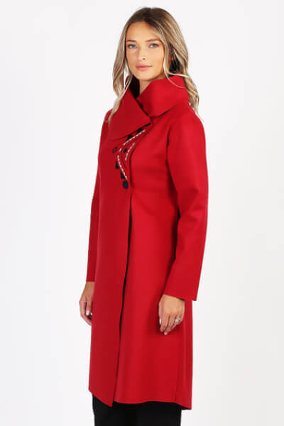 Palton din lana cu model rosu